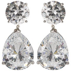 Magnificent Costume Jewelry Large Cubic Zirconia Faux Diamond Earrings