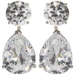 Stunning Top Quality CZ White Cubic Zirconia Faux Diamond Earrings