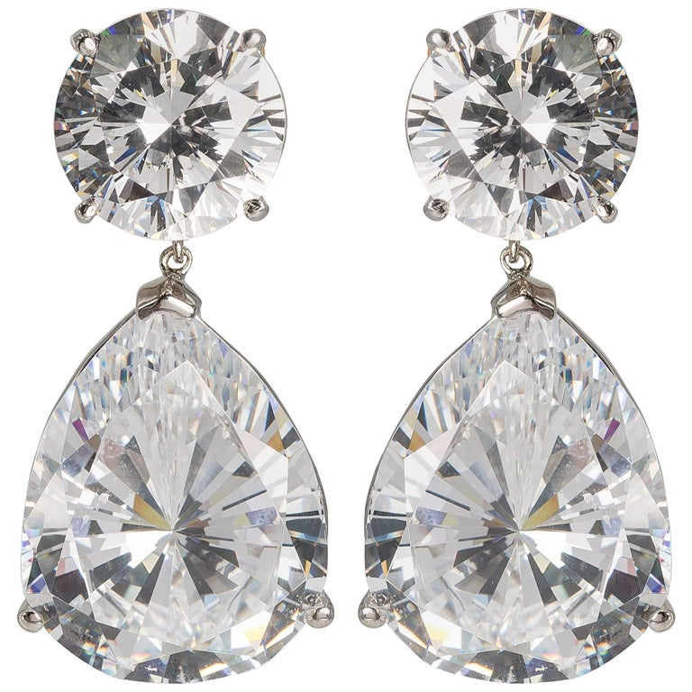 Magnificent Costume Jewelry Large Cubic Zirconia Faux Diamond Earrings For