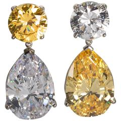 Important GIA Report Top Quality CZ White And Yellow Cubic Zirconia  Earrings