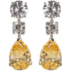 Synthetic Large White and Yellow Diamond  Earrings