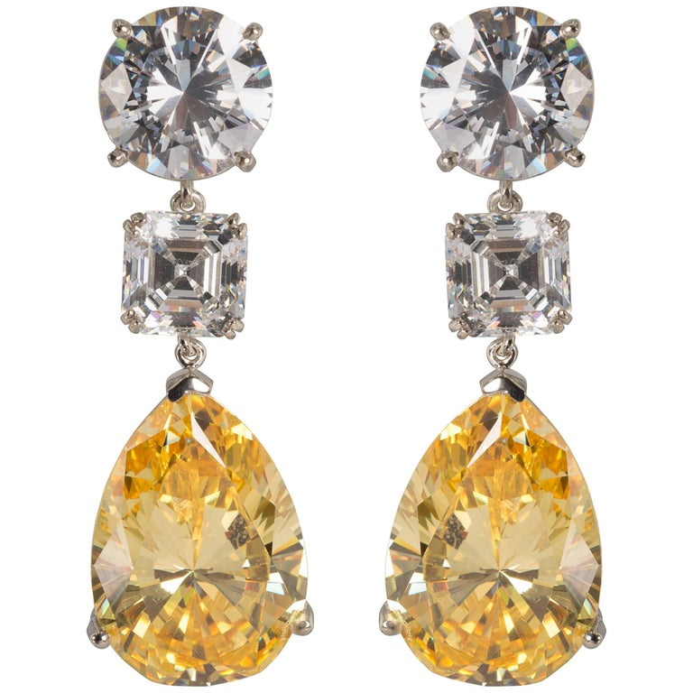Magnificent Costume Jewelry Large White And Yellow Diamond Earrings For