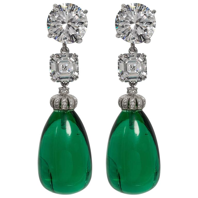 Amazing Faux Diamond Large Cabochon Emerald Drop Earrings For
