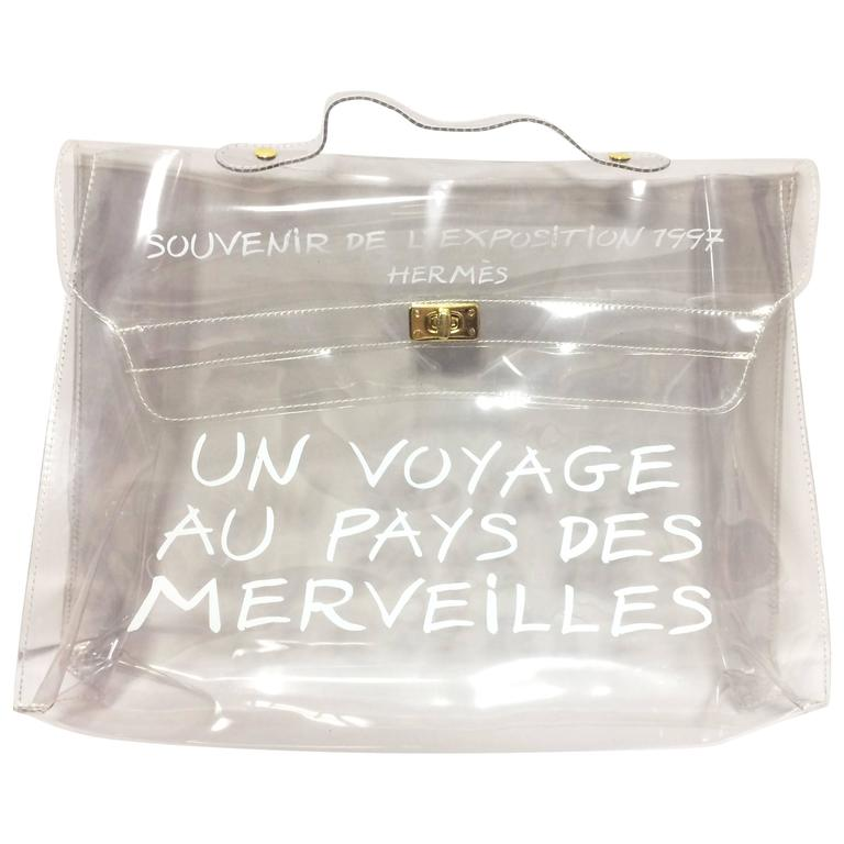 927f4ebee4ea ... canada vintage hermes a rare transparent clear vinyl kelly bag japan  limited edition. for sale