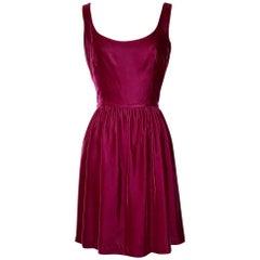 Sprouse by Stephen Sprouse Raspberry Pink Red Velvet Backless Skater Dress, 1980