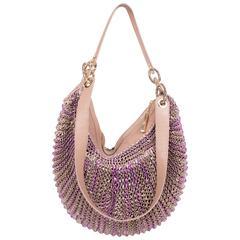 Diane Von Furstenberg Stephanie Woven Leather Slouchy Bag - beige/purple