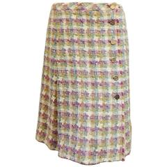 2008 Spring Cotton & Linen Blend Tweed Wrap Skirt With Inverted Pleat