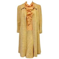 Chanel 2001 Cruise Honey and Tan Tweed Dress and Coat Ensemble