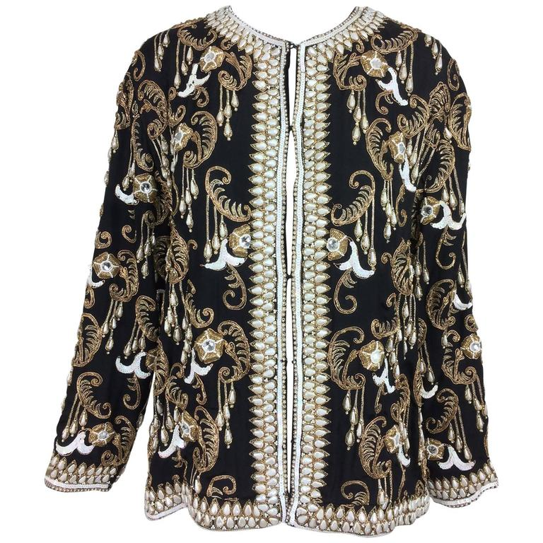Vintage Heavily Beaded And Embroidered Black Silk Jacket