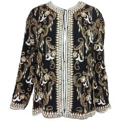 Vintage heavily beaded and embroidered black silk jacket 1990s Large