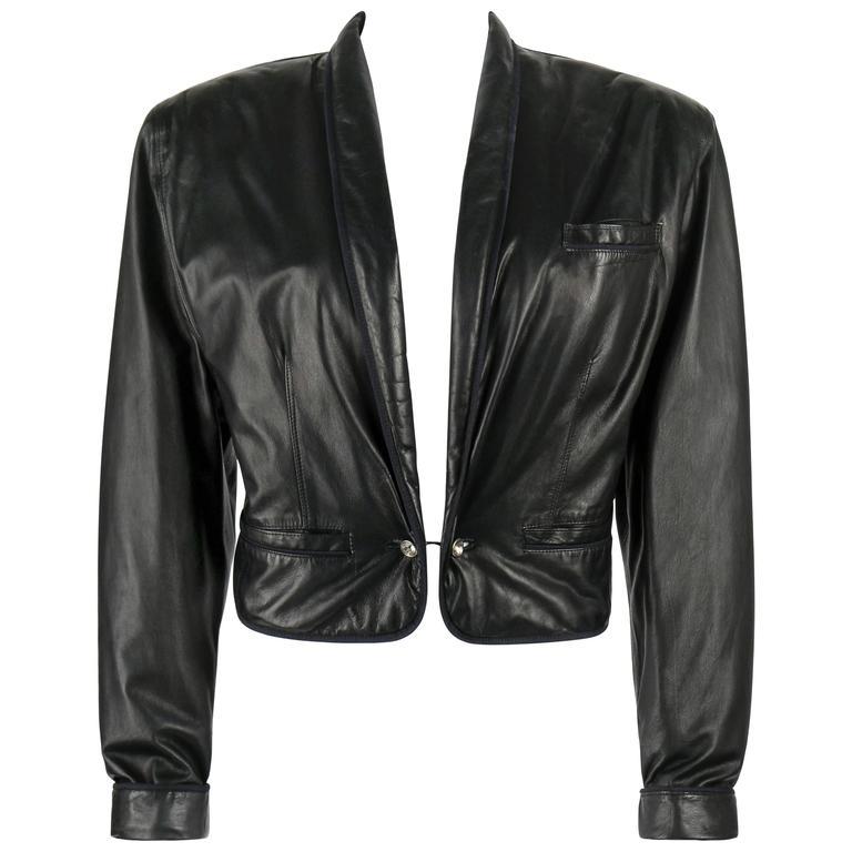 GIANNI VERSACE c.1980's Black Leather Cropped Blazer Jacket