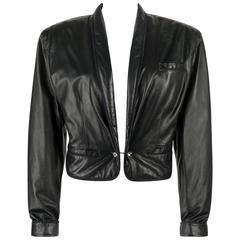 GIANNI VERSACE c.1980's Black Leather Cropped Blazer Jacket