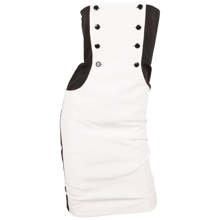 Lanvin Strapless Dress Vintage - black & white 80's