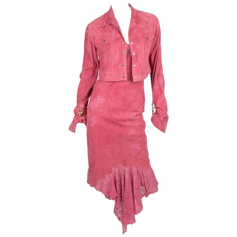 Christian Dior Dress & Jacket - pink suede