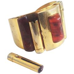 Rare Albert Dumand Signed Compact and Lipstick bangle cuff bracelet