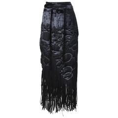 Tom Ford for Yves Saint Laurent Velvet Fringe Skirt circa 1990s