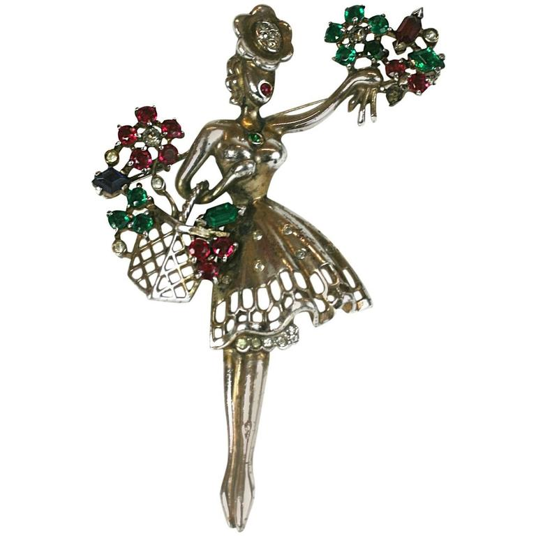 "Trifari Sterling Alfred Philippe ""Flower Seller"" Brooch For Sale"