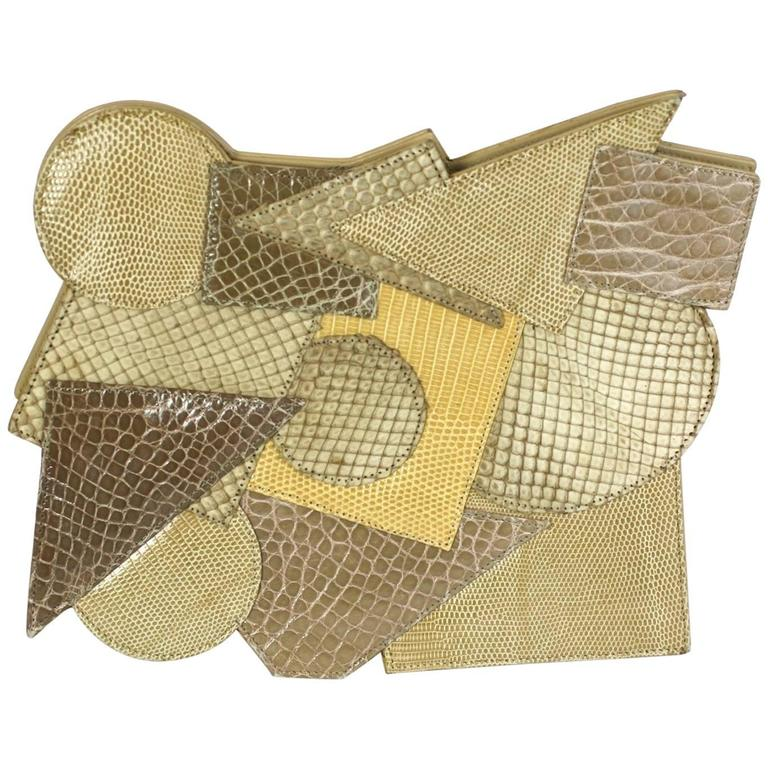 Carlos Falchi Pieced Snake and Calf Bag For Sale