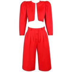 YVES SAINT LAURENT c.1980's Rive Gauche Bolero Jacket Gaucho Capri Pant Suit YSL