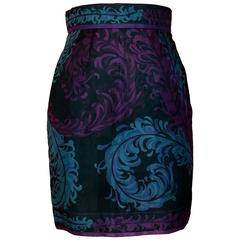 Emilio Pucci Feather Print Black Magenta and Blue Silk Mini Skirt