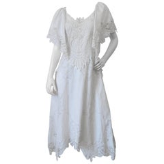 Cream Lace Applique Handkerchief Dress, 1970s