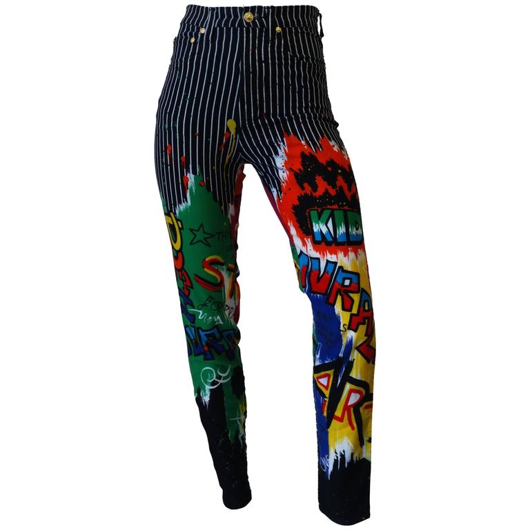 1990s Versace Graphic Graffiti Pinstripe Jeans 1