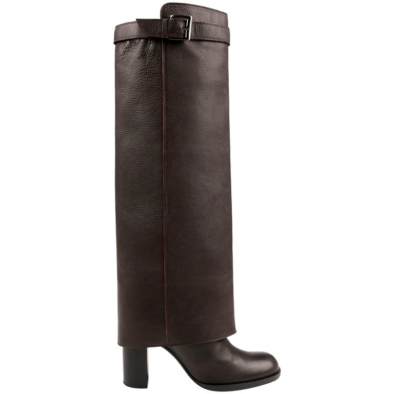 CHANEL Brown Leather Fold-Over Knee High Boots