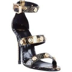 VERSACE BRONZE PYTHON SIGNATURE GOLDMEDUSA STUDDED Sandals
