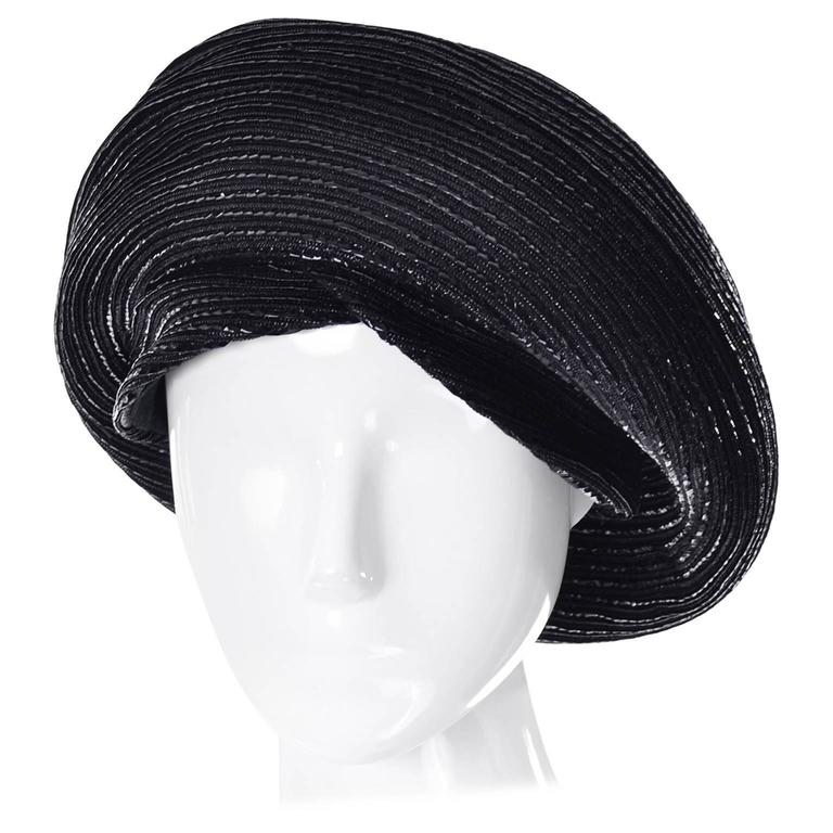 1960s Vintage Christian Dior chapeaux Turban Style Beret Hat Black Coated Straw