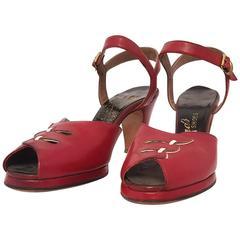 40s Red Platform Heels