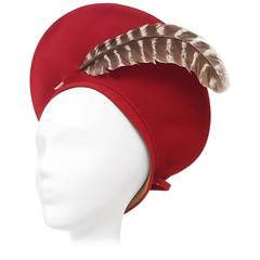 40s Stetson Red Felt Beret Hat w/ Feather Detail