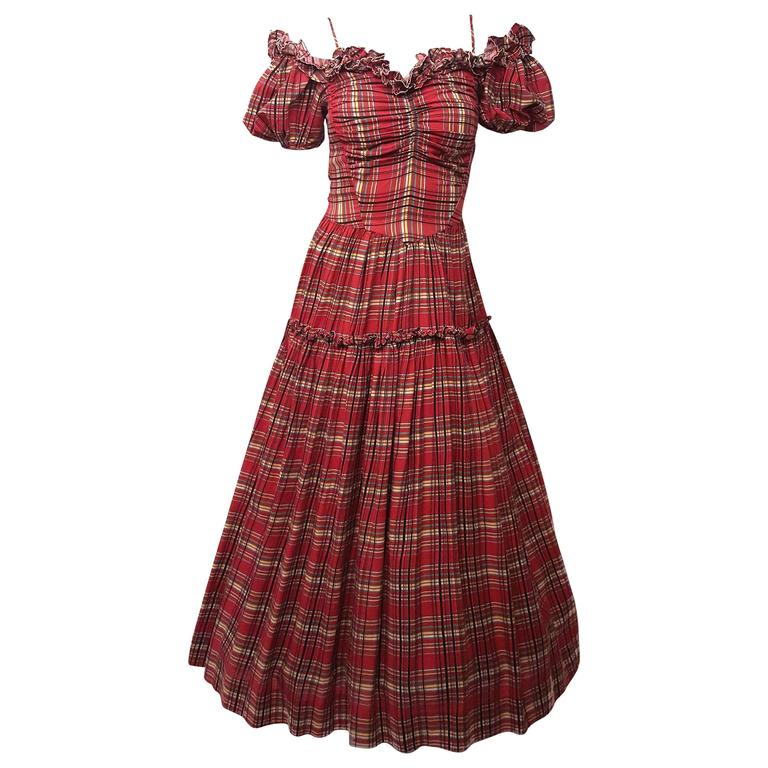 40s Red Plaid Scarlett O\'Hara Gown For Sale at 1stdibs