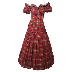 40s Red Plaid Scarlett O'Hara Gown