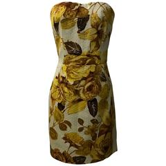 Dolce & Gabbana New with Tags Cream Gold Yellow Floral Print Strapless Sun Dress