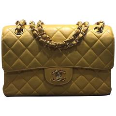 Chanel Classic Yellow Lambskin Quilted Flap Bag with Both Sides Opening
