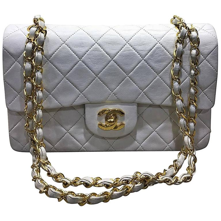 Chanel Classic White Quilted Lambskin Gold Chain Flap Bag For