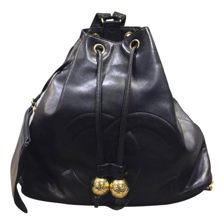 Chanel Black Lambskin Drawstring Backpack with