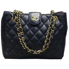 Chanel Black Quilted Lambskin Gold Chain Shoulder Bag