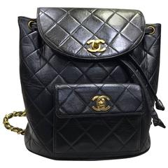 Chanel Black Quilted Lambskin Backpack with Gold Chain