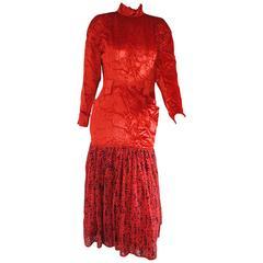 1985 Rare Alberta Ferretti Red Velvet Voland Skirt Long Dress