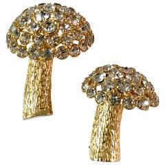 1960s Castlecliff Rhinestone Mushroom Brooches