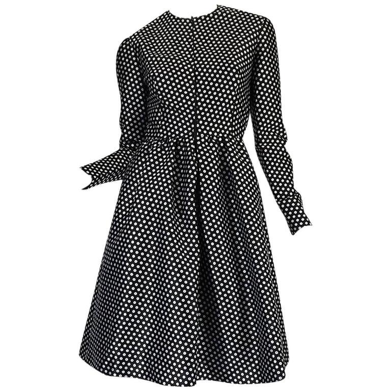 c1972 Geoffrey Beene Silk Black & White Dot Dress 1