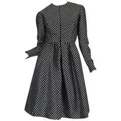 c1972 Geoffrey Beene Silk Black & White Dot Dress
