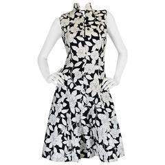1960s Donald Brooks Black & White Floral Print Dress