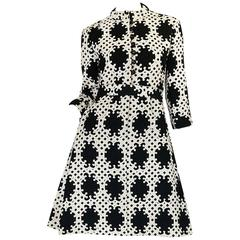1960s Donald Brooks Graphic Black & White Quilted Dress