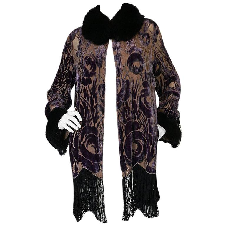 Beautiful 1920s Voided Velvet, Fur & Silk Fringe Jacket For Sale
