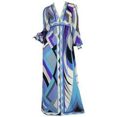 Gorgeous 1970s Purple & Blue Silk Jersey Pucci Caftan Dress