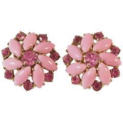 1950s Elsa Schiaparelli Pink Clip on Earrings
