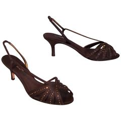 Glam C.1980 Nina Chocolate Brown Satin Slingback Sandals