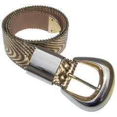 1980's Op Art Textural Gold Leather Belt
